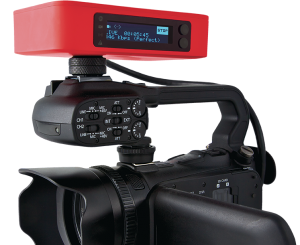 LiveStream Broadcaster device mounted on Video Camera.